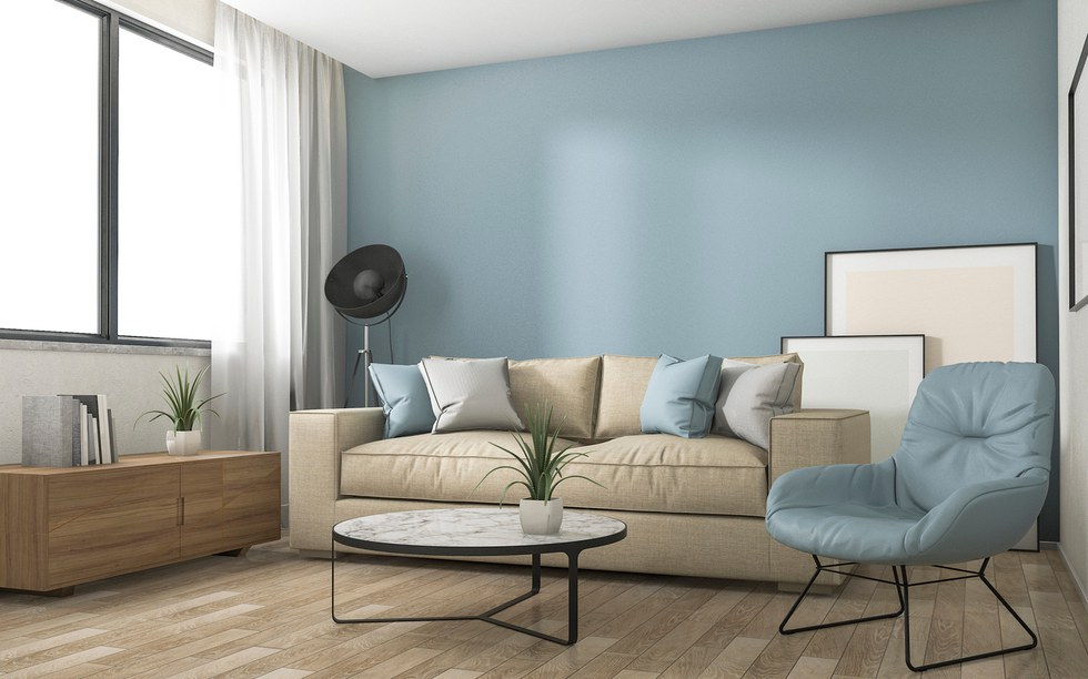 3D redering blue decoration living room with nice furniture